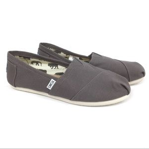Toms Gray Classic Canvas Shoes Flats Size 8W